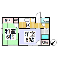 しなの鉄道 西上田駅 徒歩21分の賃貸アパート 2階2Kの間取り