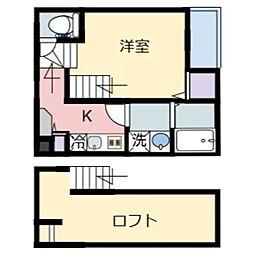 JR仙山線 北山駅 徒歩7分の賃貸アパート 1階1Kの間取り