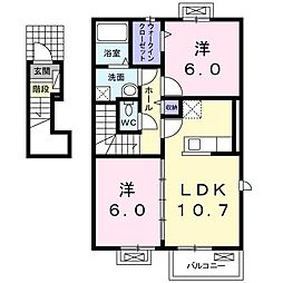 香川県さぬき市志度(アパート) 2階2LDKの間取り