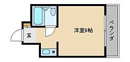 ヴィラ守口 8階ワンルームの間取り