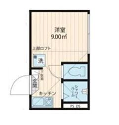 ジリオロッソ東新宿 1階ワンルームの間取り