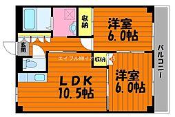 岡山県総社市中央6丁目の賃貸アパートの間取り