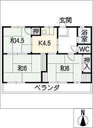 コーポ本田[1階]の間取り