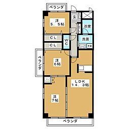 ガーデンシティ北名古屋[3階]の間取り