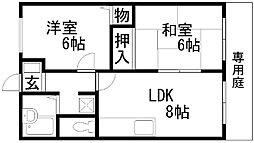 コスモハイツ岸田[105号室]の間取り