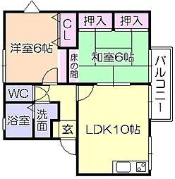 福岡県久留米市江戸屋敷2丁目の賃貸アパートの間取り