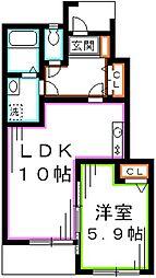 JR中央本線 武蔵境駅 バス10分 野崎八幡下車 徒歩5分の賃貸アパート 1階1LDKの間取り