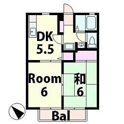 滋賀県甲賀市水口町北脇の賃貸アパートの間取り