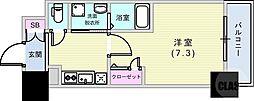 エヴァステージ神戸六甲 8階1Kの間取り