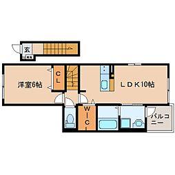 JR東海道本線 焼津駅 徒歩18分の賃貸アパート 2階1LDKの間取り