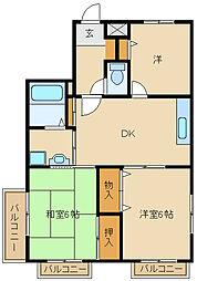 兵庫県尼崎市東園田町8丁目の賃貸マンションの間取り