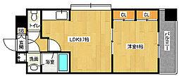 京都地下鉄東西線 東野駅 徒歩7分の賃貸マンション 6階1LDKの間取り