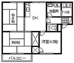 大阪府岸和田市作才町の賃貸アパートの間取り
