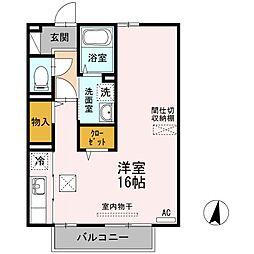 JR山陽本線 小月駅 徒歩8分の賃貸アパート 2階ワンルームの間取り