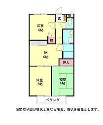 愛知県一宮市木曽川町黒田七ノ通りの賃貸アパートの間取り