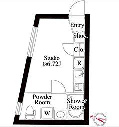 パセオ三軒茶屋ウエスト 2階ワンルームの間取り