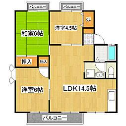 茨城県つくば市千現2丁目の賃貸アパートの間取り
