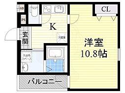 JR阪和線 百舌鳥駅 徒歩9分の賃貸アパート 1階1Kの間取り