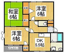 ラ・カンナB[1階]の間取り
