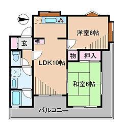 神奈川県横浜市港北区日吉7丁目の賃貸マンションの間取り