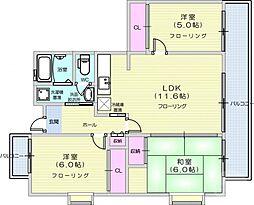 メゾンブランシュ1号館 5階3LDKの間取り