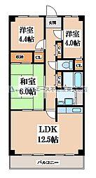 近鉄奈良線 若江岩田駅 徒歩14分の賃貸マンション 3階3LDKの間取り