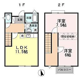 [タウンハウス] 広島県福山市山手町6丁目 の賃貸【/】の間取り