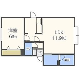 北海道札幌市東区北四十二条東15丁目の賃貸アパートの間取り