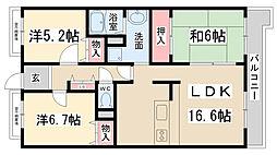 兵庫県伊丹市大鹿7丁目の賃貸マンションの間取り