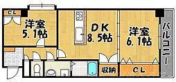 アヴィニールグランデ金田[6階]の間取り
