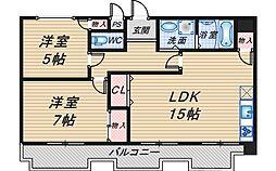 レジデンス桜の町[202号室]の間取り