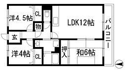 兵庫県伊丹市中野東1丁目の賃貸マンションの間取り