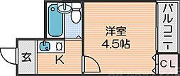 ケアンズクラブ帝塚山 5階1Kの間取り