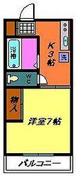 メゾンボナール(稲毛)[202号室]の間取り