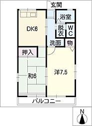 愛知県愛知郡東郷町大字春木字野渕の賃貸アパートの間取り