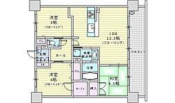 阪急宝塚本線 庄内駅 徒歩5分の賃貸マンション 9階3LDKの間取り