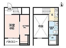 Jeunesse新守山(ジュネス新守山) 2階1Kの間取り