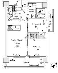 新交通ゆりかもめ 新豊洲駅 徒歩22分の賃貸マンション 2階2LDKの間取り