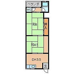 松美マンション[3階]の間取り