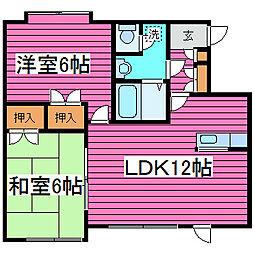 北海道札幌市東区北四十三条東9丁目の賃貸アパートの間取り