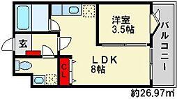 福岡県春日市上白水8丁目の賃貸マンションの間取り
