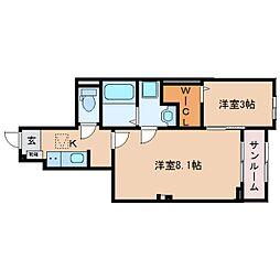 JR東海道本線 焼津駅 徒歩18分の賃貸アパート 1階2Kの間取り