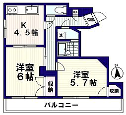 サンライズ鶴田[4階]の間取り