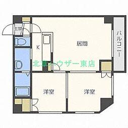 北海道札幌市東区北二十三条東19丁目の賃貸マンションの間取り