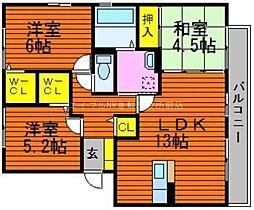 岡山県倉敷市広江2丁目の賃貸アパートの間取り