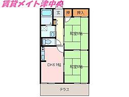 三重県津市久居射場町の賃貸アパートの間取り