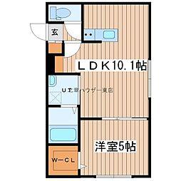 フチュール 3階1LDKの間取り