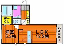 岡山県岡山市北区今8丁目の賃貸アパートの間取り