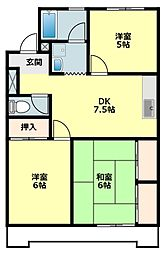 愛知県岡崎市稲熊町字宮下の賃貸アパートの間取り