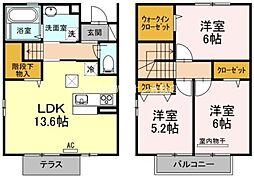 [テラスハウス] 岡山県倉敷市笹沖 の賃貸【/】の間取り